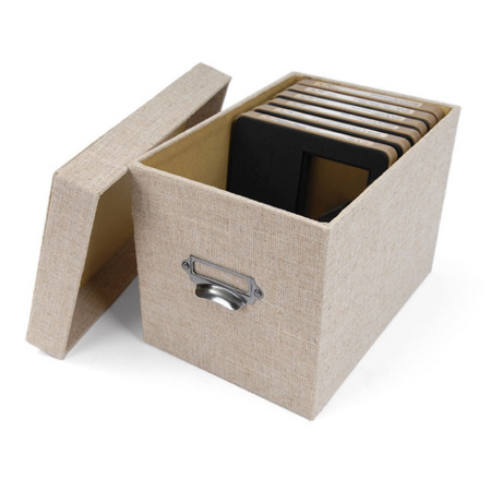 Buy Grey Linen Rectangular Storage Box With LidLinen Drop Front Sweater Box  , The Container Store
